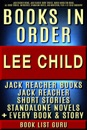 Lee Child Books in Order: Jack Reacher books, Jack Reacher short stories, Harold Middleton books, all short stories, anthologies, standalone novels, and nonfiction, plus a Lee Child biography.