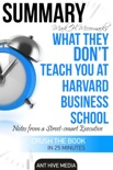 Mark H. McCormack's What They Don't Teach You at Harvard Business School: Notes from a Street-smart Executive Summary book summary, reviews and downlod